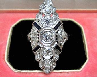 Vintage Engagement Ring, Art Deco Diamond Dinner Ring Platinum c. 1930, Art Deco Ring, Antique Ring, Vintage Ring