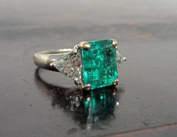 Préférence Coupe incroyable bague de fiançailles émeraude avec diamants WN21