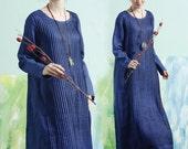maxi dress in blue, long linen dress, pleated dress, tunic dress, shirt dress, maxi linen dress, long sleeve dress, winter dress, plus size