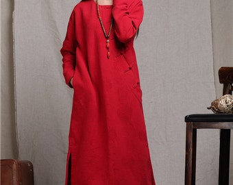 red dress, maxi dress, linen dress, plus size clothing, winter dress, long linen dress, linen kaftan, oversize red dress, loose shirt dress