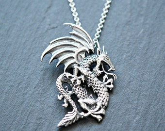 Dragon necklace, sterling silver dragon, large winged dragon pendant, medieval, goth, intricate, tv, symbolic necklace, horned dragon - fury