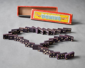 Vintage Domino game toy Mid Century Modern West German 60 wood black white