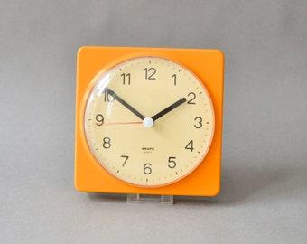 Vintage Krups wall clock, orange clock West German Krups, kitchen clock 80s