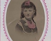 Beautifully Tinted Tintype of a Woman with a Rose in her Hair