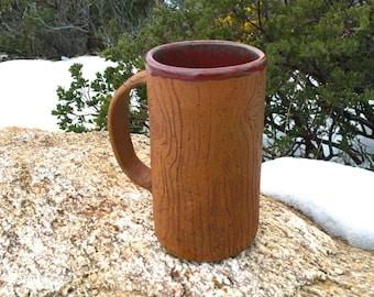 The Mountain Man Coffee Mug : Ceramic Pottery Wood Grain Texture Nature Stoneware Handmade Beer Stein