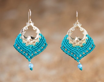 Light Blue Macrame Earrings -MAGICAL Aquamarin Crystal Earrings With  Gold-filled- TRIBAL Jewelry -Ethnic Boho Earrings