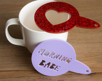 Personalised Custom Made Stencil Duster! Sprinkle a Name or Shape on your Coffee or Cake