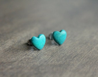 Turquoise Heart Stud Earrings, Surgical Steel Stud Earrings, Stainless Steel, Turquoise Studs, Turquoise Earrings, Heart Studs, Teal Studs