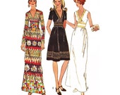 """1971 Deep V Neck Maxi or Cocktail Dress, Fitted Midriff, Sleeveless, Short/Long Sleeves, Trim Options, Simplicity 9707, Bust 32 1/2"""" or 34"""""""