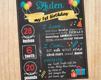 First Birthday Chalkboard sign. boy. printable poster chalk board DIY digital customizable party print. 1st birthday party decorations.