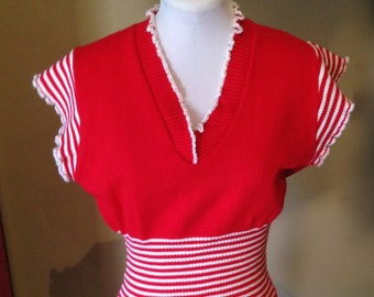Vintage early  1960s Red Knitted Top with White Stripes M/L