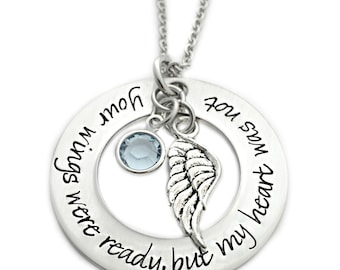 Personalized Memorial Necklace - Your Wings Were Ready, But My Heart Was Not - Memorial Jewelry - Miscarriage Pregnancy Loss Necklace - 1153