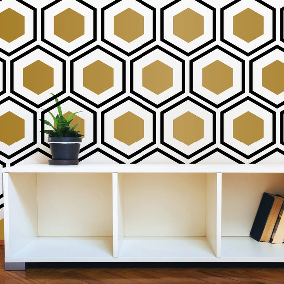 Hexagon Wall Pattern Decal Modern Geometric Art Deco Design
