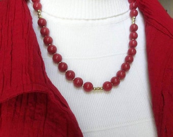 statement necklace, beaded necklace, stone necklace, red necklace, simple necklace, red jewelry, handmade necklace, red beaded necklace