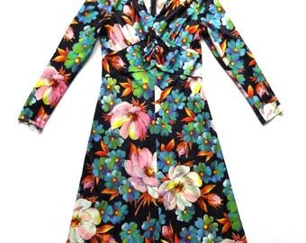 Vintage 70's Floral Print Midi Dress UK Size 8