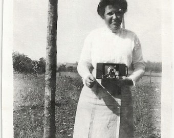 Old Photo Woman Holding Camera 1910s Photograph Snapshot vintage