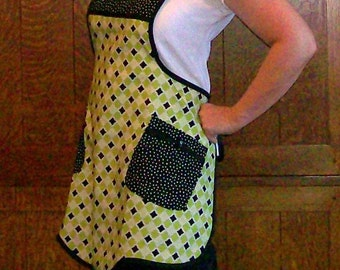 Retro Kitchen Apron - Lime and Black - Woman Size M