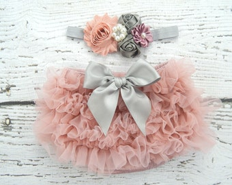 Shabby Dusty Rose Newborn Ruffle Bloomers and Headband Set / Ruffle Baby Bloomer / Ruffle Diaper Cover / Newborn Photo Prop / Vintage Pink