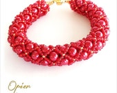 Hand Woven 6mm RED Glass Pearl Bracelet with matching Toho seed beads, metallic accent beads, silver magnet clasp