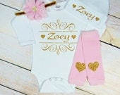 Baby Girl Clothes Personalized Pink Gold Glitter Hearts Headband Leg Warmers Baby Girl Outfit Gift Newborn Coming Home Set