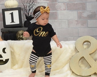 1st Birthday Girl Outfit First Birthday  Girl Clothing Black Gold One Gold Sequin Bow Headband Gold Heart Leg Warmers Baby Girl Clothes