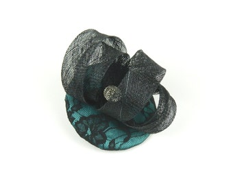 Fascinator Headpiece Cocktail Hat Black Sinamay Twirl, Blue Floral Lace Fabric and Vintage Button Occasion Headwear Statement Hen Night