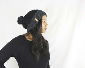 Womens winter hat, Knit slouchy hat - Knit hat with pom pom - The Paku- Two toned knit hat