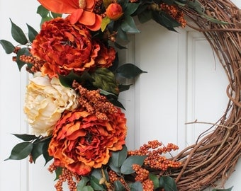 Fall Grapevine Burnt Orange and Golden Peonies with Orange Magnolia