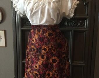 60s Sunflower Cotton Pencil Skirt