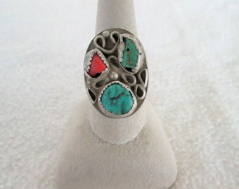 Turquoise Coral Ring Old Pawn Navajo Native American Ring Size 9.75 Old Scroll Work Tested Silver Vintage Jewelry