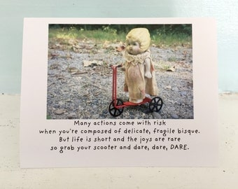 Claudia China Doll Supportive Bravery Risk Notecard Saying Yes Encouragement Card