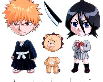 Mix and Match Magnets: Ichigo, Rukia, Kon (Bleach Set)