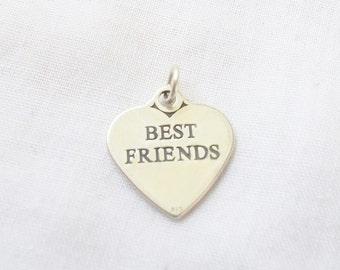 BEST FRIENDS HEART Charm .925 Sterling Silver