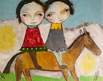 brothers and sisters on a long horse, acrylpainting on canvas, children, primitiv art