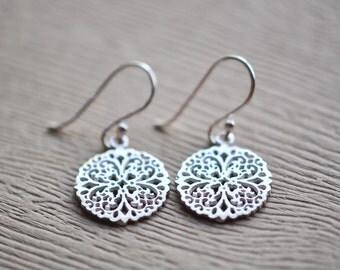 Lace Flower Earrings - Mandala Earrings - Filigree Earrings  - Silver Earrings - Aldari Jewelry Desings