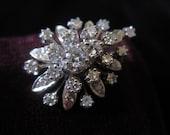 Diamond Brooch Ring 14k Cocktail Diamond Ring Diamonds Statement Large Pin Starburst Solid White Gold Diamond Ring Fourteen Karat Size 6 1/2