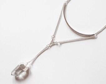Silver Quartz Arc Y Necklace- Crystal Lariat