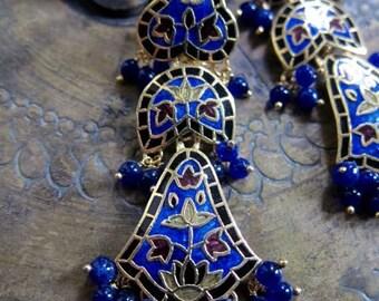 Pure silver - Minakari Earrings -- Burgundy Gold - 3 Step Iridescent