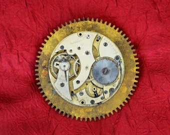 Antique Pocket Watch Movement and Gear Brooch - Steampunk Pin