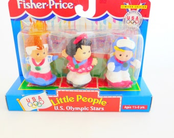 Fisher Price Little People, U.S. Olympic Stars, Limited Edition, Mattel, Girl Down Hill Skier, Snowboarder, Figure Skater