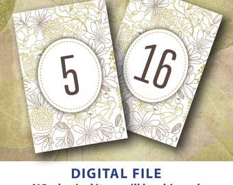 4x6 Table numbers Gold flower Printable rustic wedding table number woodland 1-30 Instant download Nature table numbers