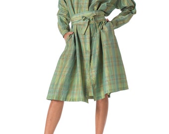 1960s Missoni Green Silk Shirt Dress SIZE: XL, 16
