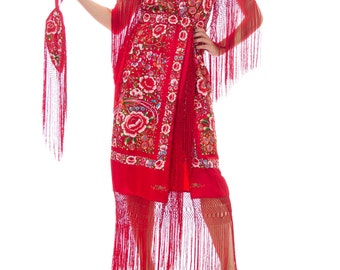 Morphew Lab Hand-embroidered Chinese Shawl Dress With Fringe Size: S