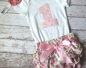 Baby Girl First Birthday Outfit, Onepiece Bodysuit, Bloomers and Headband Set, pink, green, Flowers, Ruffles, Photo Prop, First Birthday Set