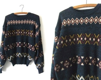 Tribal Pattern Abstract Sweater - 90s Tapestry Style Patterned Acrylic Knit Jumper - Mens Medium