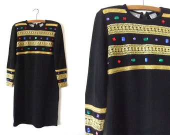 Bejeweled Tunic Sweater Dress - Royalty Style Embroidered 90s Shirt Dress Evening Wear - Womens XS / Extra Small