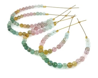 Multi Tourmaline Smooth Round Beads, Watermelon Tourmaline Beads, 3-3.5mm, Afghani Multi Tourmaline Round Beads