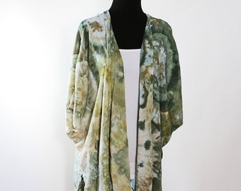 Ice Dyed Tie Dyed   Ruana Jacket, Greens, Gold Agate Design,  Rayon,   Asymmetric, Made To Order