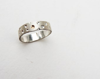 Brushed 'Crater' Ring- Unique ring band with 14k Gold Inster- Art Jewelry heavy stacking ring- Handmade custom ring- Made to order