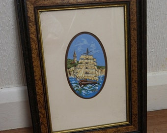 Cash's Delicately Woven Picture of a Sailing Ship 1990s Fabric Art in Frame